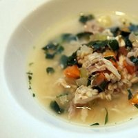Chicken and barley soup200